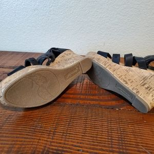 American Eagle Outfitters Shoes - American Eagle Black Strappy Cork Wedge Sandals
